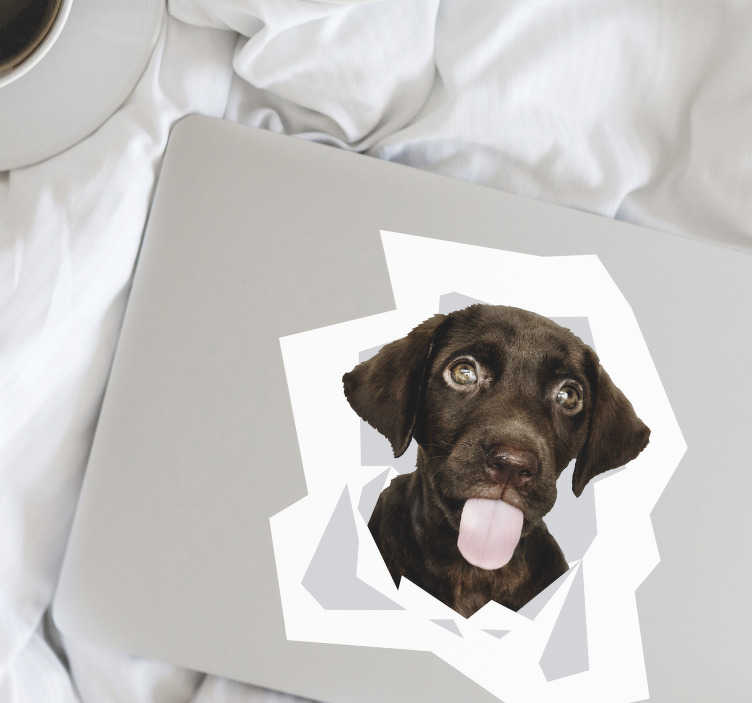 TenStickers. Dog coming out of the wall laptop skin. Decorate laptop with this dog decal in the size option of preference. Easy to apply and very adhesive with high quality.