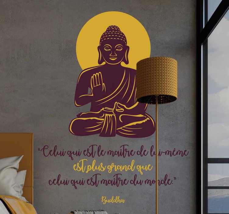 TenStickers. Sticker Motivation maître de lui-même. Ce sticker mural motivation en forme de Budha est la décoration parfaite pour votre salle à manger et salon, détendez-vous avec ce magnifique sticker!
