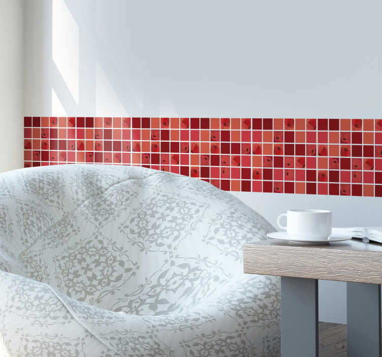 TenStickers. Poppy mosaic tile transfer. Decorative wall boarder tile in very beautiful colour to make a well defined and attractive appearance to any wall space applied.