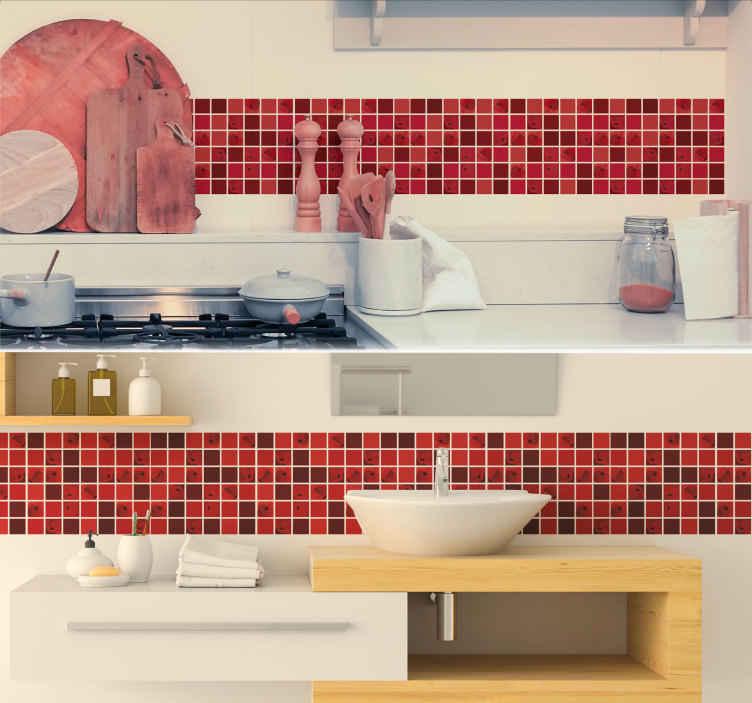 TenVinilo. Vinilo trama Mosaico de amapolas. Cenefa adhesiva para decorar tu baño o cocina en unos tonos rojos y rosas y con la ilustración de amapolas. +10.000 Opiniones satisfactorias.