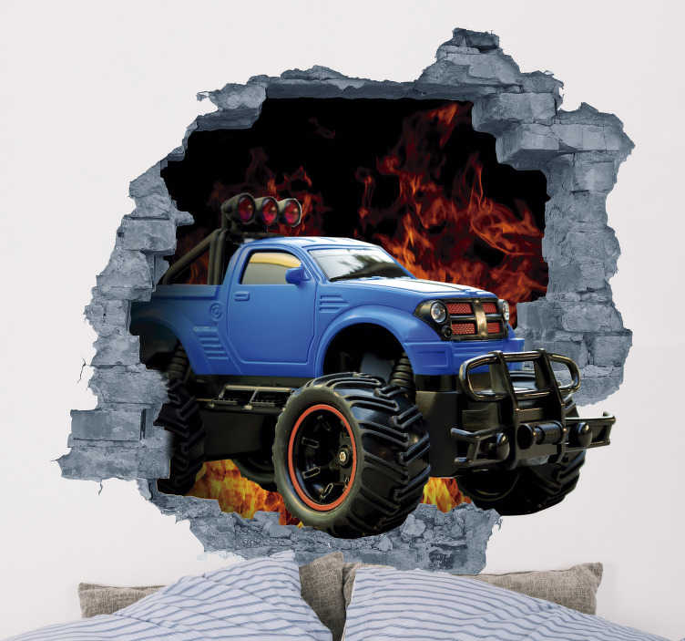 TenStickers. 3d car decal. Check out this cool 3d wall sticker. Depicting a monster truck crashing through your walls. Don't worry though this won't cause any structural damage!
