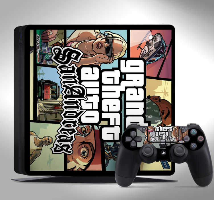 TenStickers. GTA ps4 sticker. Love GTA? This cool PS4 GTA skin is perfect for you. Will make your console stand out! Depicts the well know cover of the game San Andreas