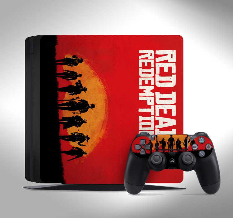"""TenVinilo. Vinilo PS4 Red Dead Redemption. Pegatina para PS4 y controladores formada por la caratula del videojuego """"Red Dead Redemptation"""". +10.000 Opiniones satisfactorias."""