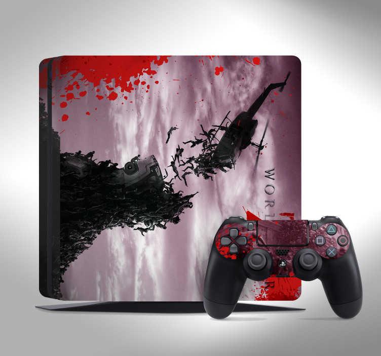 """TenVinilo. Vinilo PS4 World War Z. Pegatina para decorar y personalizar tu PS4 y controladores formada por un diseño del videojuego """"World War Z"""". Fácil aplicación y sin burbujas."""