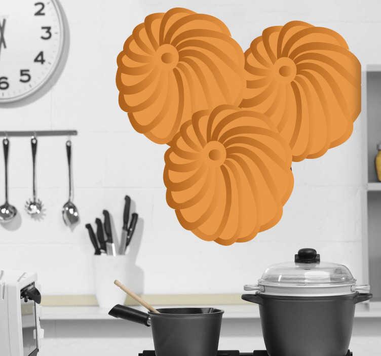 TenStickers. Naklejka trzy ciastka. Naklejka dekoracyjna przedstawiajaca trzy maślane ciastka, które idealnie nadadzą się do porannej kawy, czy herbaty. Stwórz wyjątkowy styl w Swojej kuchni.