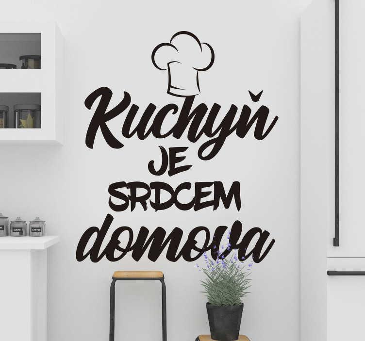 TenStickers. Kuchyňské srdce domácí domácí text nálepka na zeď. Spojte lidi s touto typografickou nálepkou na zeď, která opravdu učiní z kuchyně srdce domu. Rychlý zákaznický servis.