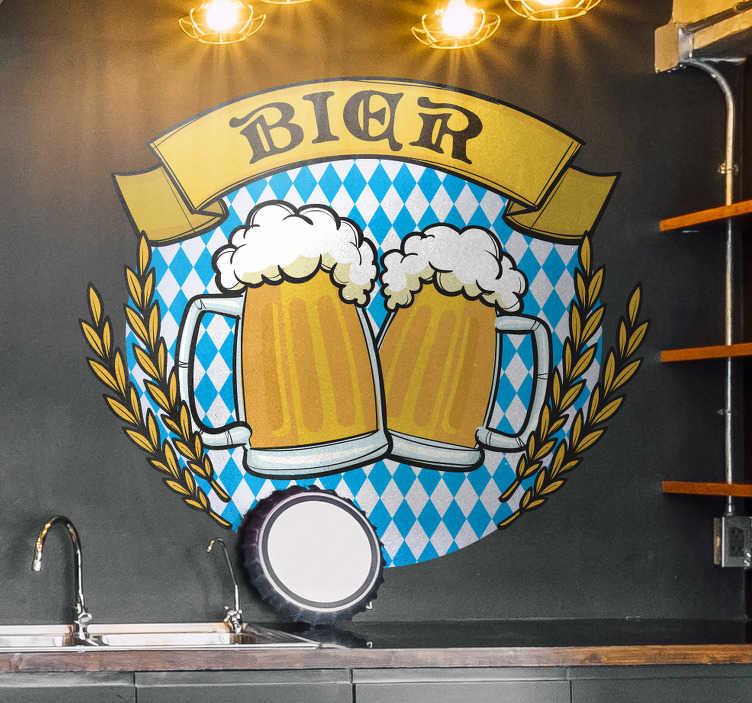 TenStickers. Wandtattoo Esszimmer Bier. Bunter Wandsticker für Zuhause, nicht nur fürs Oktoberfest sondern für jede Party der Hingucker und jeden Bierliebhaber das neue Lieblingsstück.