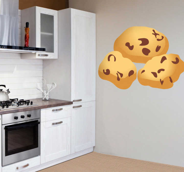TenStickers. Chocolate Cookies Decal. Wall Stickers - Decals - Vector illustration of three golden yummy chocolate cookies.