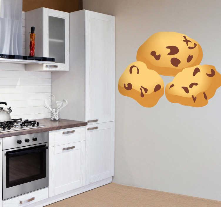 TenStickers. Wandtattoo Küche Cookies. Dekorieren Sie Ihre Küche auf besondere Art und Weise mit diesem lecker aussehenden Wandtattoo von Cookies mit Schokostückchen.