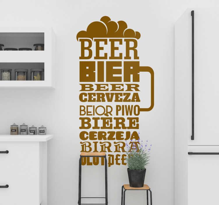 """TenVinilo. Vinilo texto Cerveza texto. Vinilo para cocina formado por el nombre """"cerveza"""" en diferentes idiomas y creando la silueta de una gran jarra. Vinilos Personalizados a medida."""