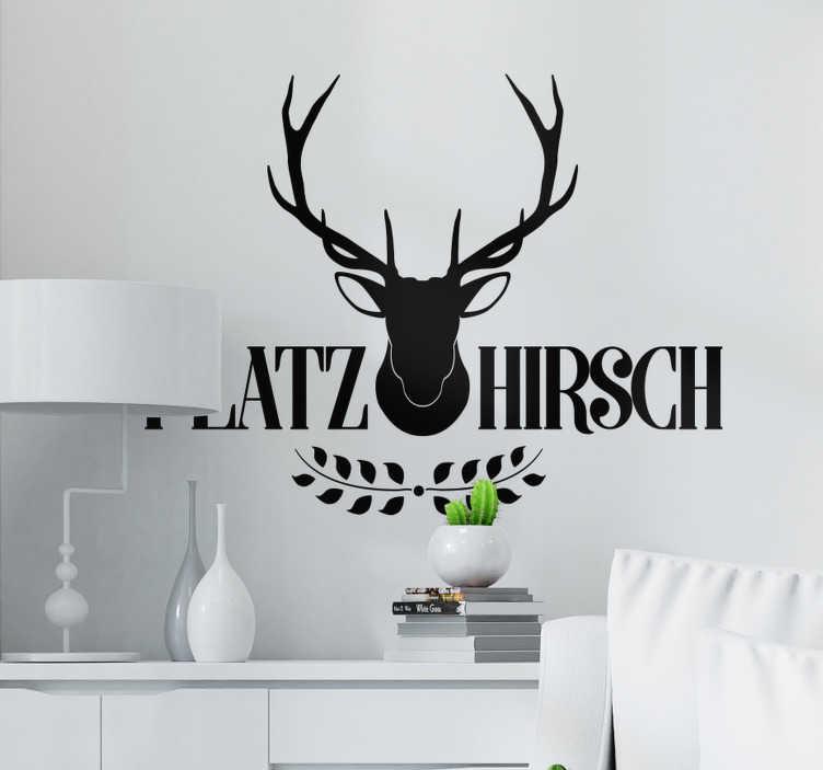 TenStickers. Wandtattoo Wohnzimmer Tier Sticker Platzhirsch. Platzhirsch Wandsticker in moderner Optik. Fein gearbeiteter Hirsch, der Ihren Raum auf einfachste Art dekoriert. Einfarbig aber mit großer Wirkung!