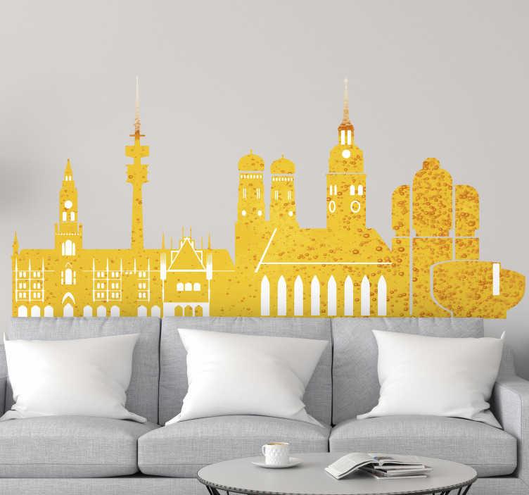 TenStickers. Sticker Welt Skyline München mit Biercharakter. Wandaufkleber der Skyline München, mit den  berühmtesten Sehenswürdigkeiten in der Farbe des Bieres und der Gerste. Perfekt für Ihr Wohnzimmer
