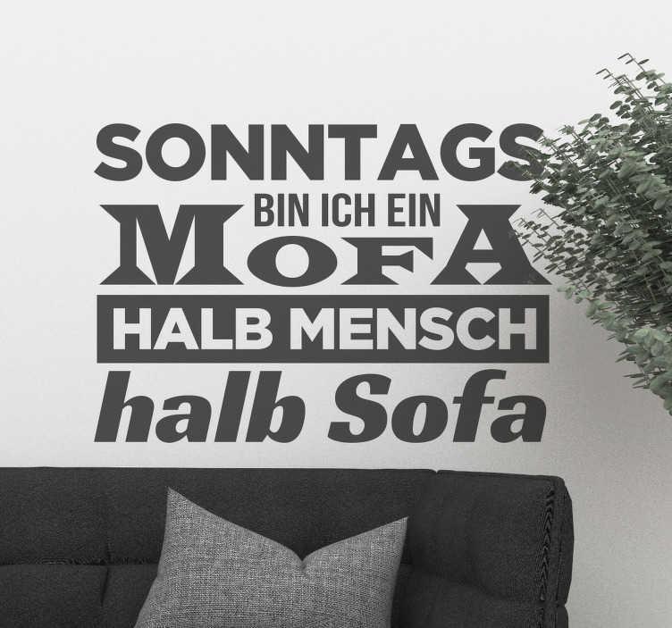 TenStickers. Text Aufkleber Sonntag. Spruch für die Wand, perfekt für alle die den Sonntag gerne auf dem Sofa verbringen und einen lustigen Text über Ihrem Sofa anbringen möchten