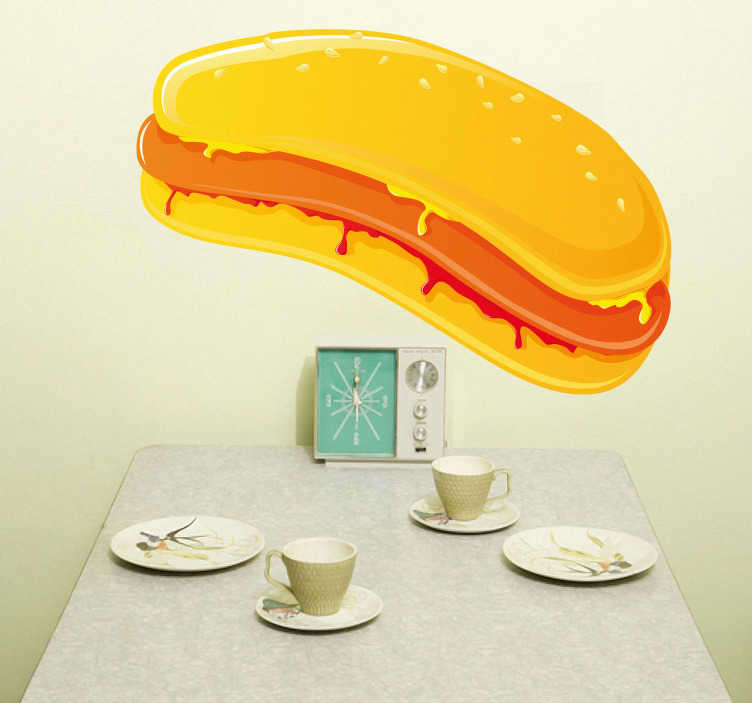 TenStickers. Mustard & Ketchup Hotdog Decal. Wall Stickers - Decals - Vector illustration of a hot dog covered in mustard and ketchup in a golden yellow bun.