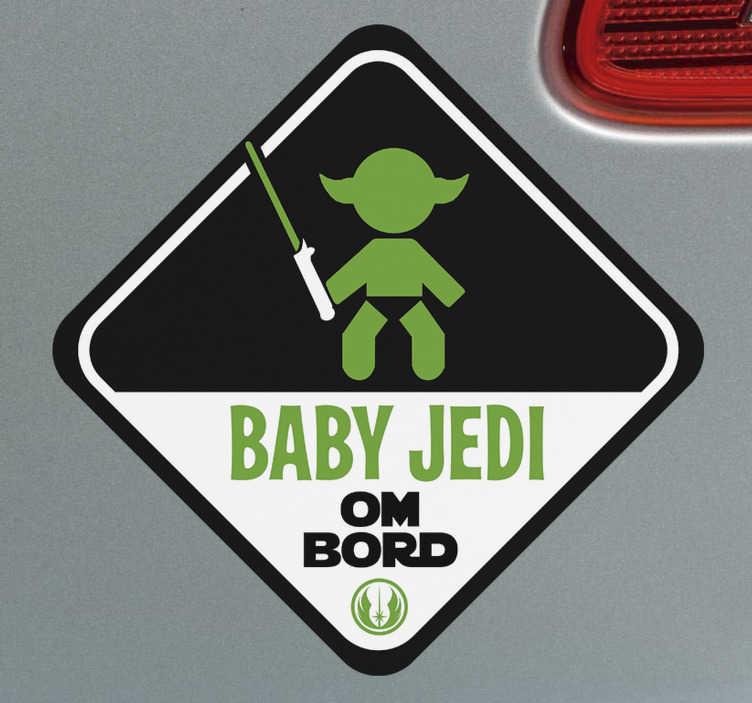 """Tenstickers. Baby jedi bil klistremerke. Hvis barnet ditt er en stor star wars-fan, så bruk dette bil-klistremerket! Den viser silhuetten til en baby og teksten """"baby jedi ombord""""!"""