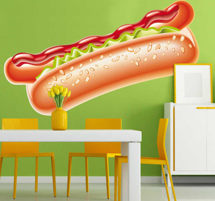 TenStickers. Hot Dog Wall Sticker. Food Wall Stickers - A juicy hot dog in a fresh bun with ketchup. The hot dog sticker is perfect for a cafe or fast food place.