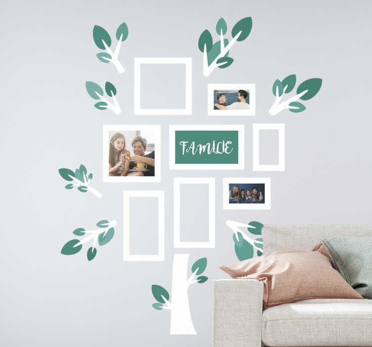 Tenstickers. Familie med bilder trevegg klistremerke. Hvis du elsker familien din, kan du dekorere hjemmet ditt med dette fantastiske treveggdekselet og med bildene fra familien.
