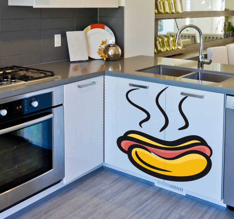 TenStickers. Hot dog Outline Sticker. A fun and original kitchen sticker to obtain a fantastic atmosphere along with a brilliant appearance. If you love hot dogs then this is for you!