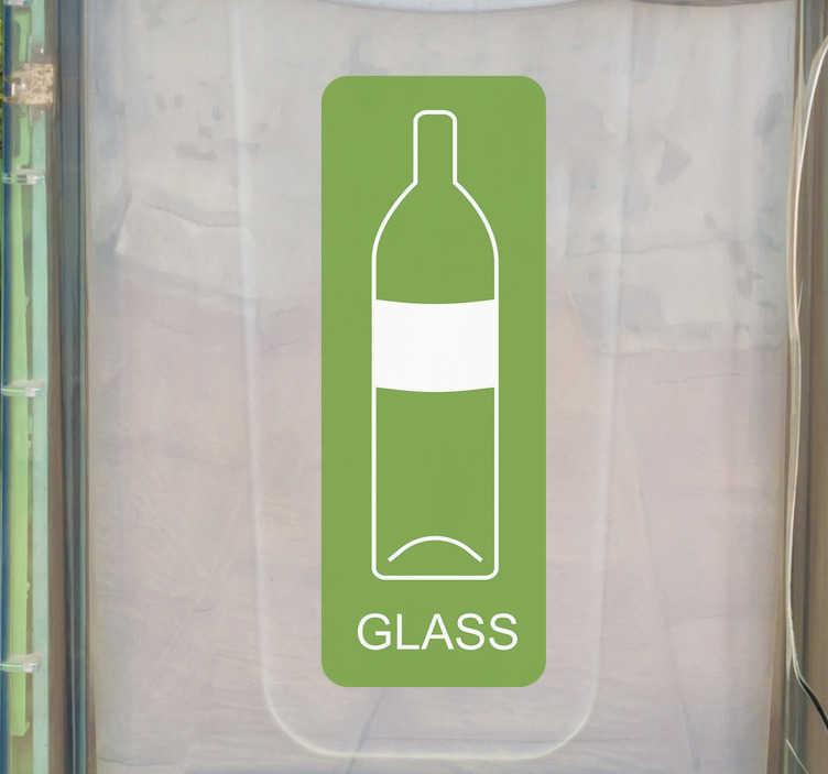 Tenstickers. Resirkulering av vinylskilt av glass. Bryr du deg om miljøet? Gjør det lettere å gjenvinne glass ved å bruke dette vinylskiltet, som lett kan identifiseres uansett hvor du er i verden