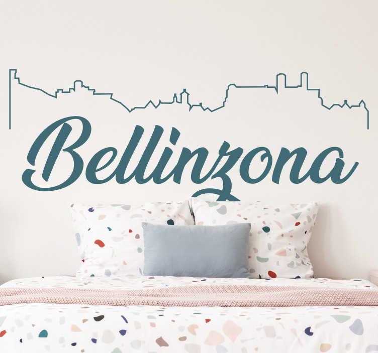TenStickers. Adesivo skyline bellinzona. Se vieni da Bellinzona e sei affezionato alla tua città, celebrala applicando questo adesivo skyline, che raffigura il contorno della tua città!