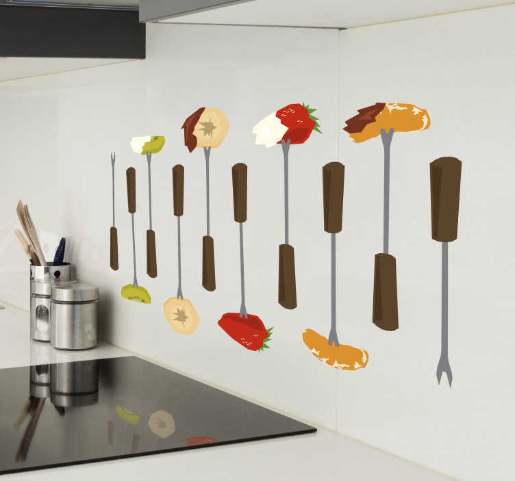 TenStickers. Fondue Food Kitchen sticker. Show off to the world your love of the best way to eat food with this awesome fondue kitchen sticker. Worldwide delivery available!