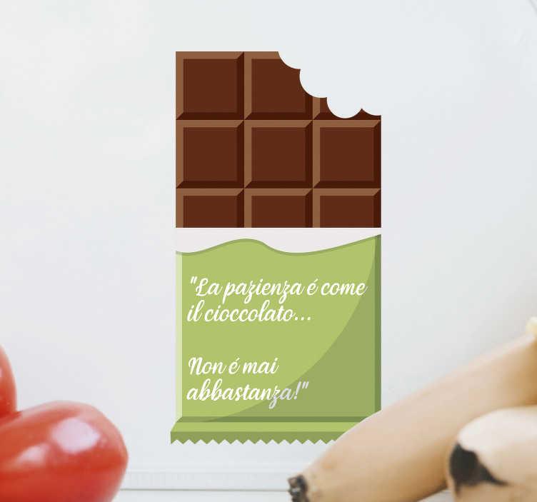 """TenStickers. Disegno per pareti frase cioccolato. Chi non ama il cioccolato? Celebralo con questa frase adesiva da parete con testo """"La pazienza è come il ciocciolato... Non è mai abbastanza!""""."""