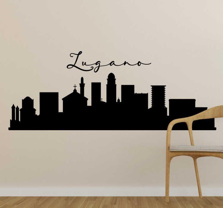 TenStickers. Adesivo murale skyline di Lugano. Applica questo adesivo skyline, con la sagoma di Lugano, una delle città più grandi della Svizzera, e bella per il suo paesaggio di montagne e di lago