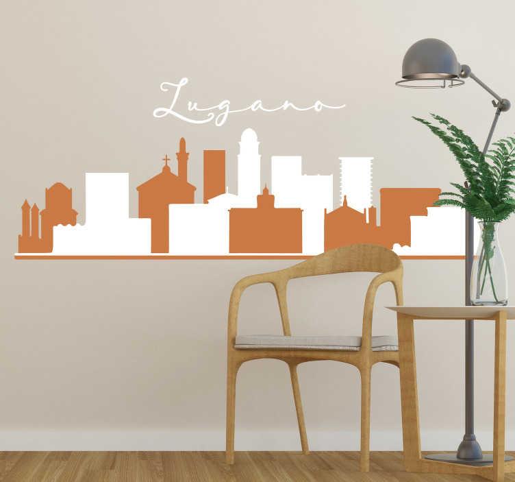 TenStickers. Adesivo murale skyline Lugano. Applica nella tua casa o nel tuo luogo di lavoro questo adesivo skyline, che presenta la sagoma di Lugano, se abiti qui oppure ci sei affezionato.