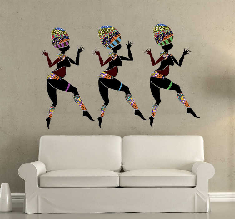 TenStickers. Tribal Dancers Wall Sticker. Room Stickers - Three African tribal dancers. Brighten up your house with this African themed design.
