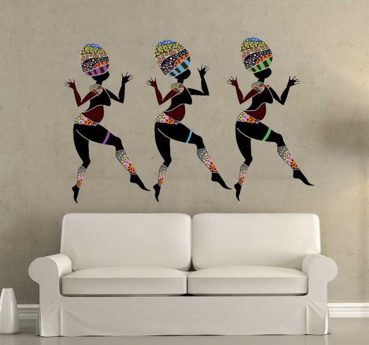 TenStickers. Naklejka na ścianę taniec ludowy. Interesująca naklejka na ścianę przedstawiająca trzy tancerki w trakcie wykonywania tańca etnicznego.