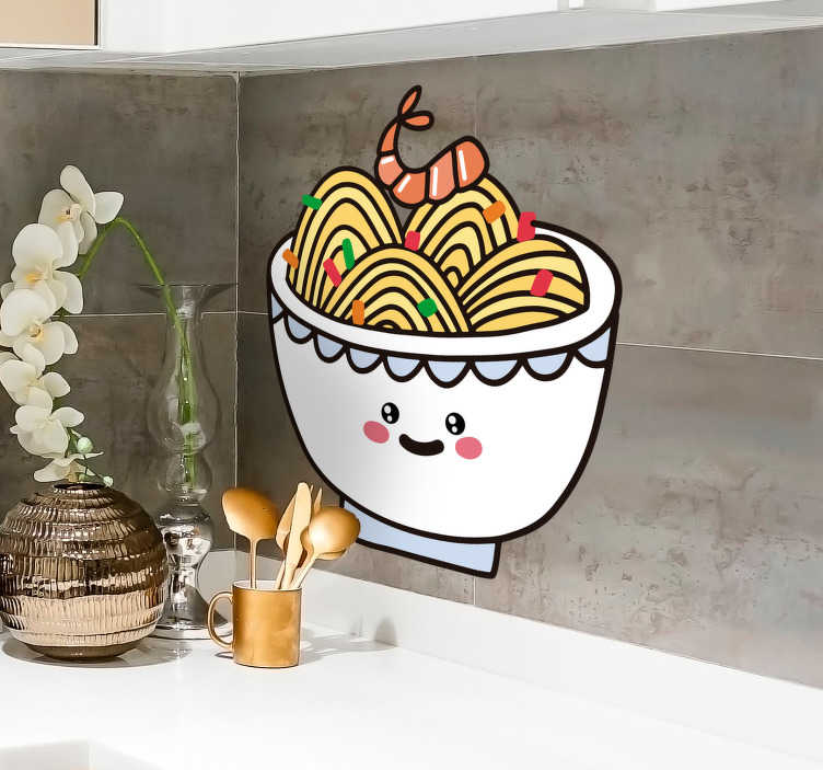 TenStickers. Anime Ramen Kitchen Sticker. Bring the beauty and wonder of everyone's favorite dish, Ramen, with this awesome cartoon Ramen kitchen sticker. Worldwide delivery!