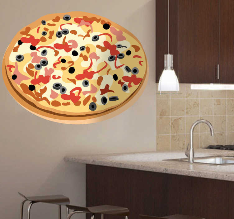 TenStickers. Olive Meat Pizza Decal. Wall Stickers-Vector illustration of a thin based pizza topped with black olives, cheese and tomatoes. Ideal for fast food outlets and restaurants.