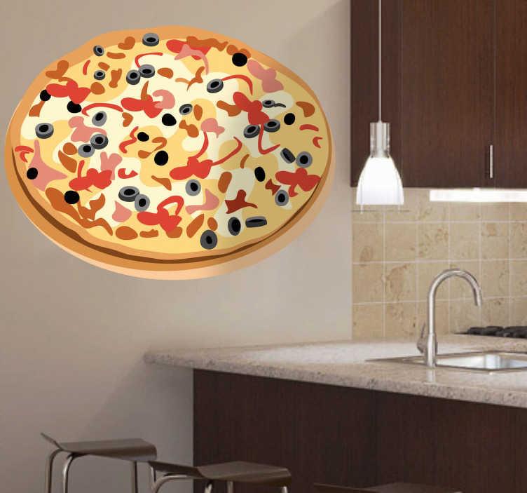TenStickers. Muursticker pizza in kleur. Deze muursticker omtrent een heerlijk krokante pizza vol smakelijke ingrediënten, ideaal voor pizzeria´s en pizzaliefhebbers.