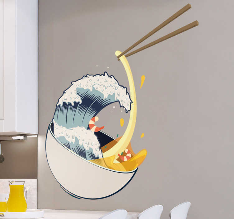 TenStickers. Great Wave Ramen Kitchen Sticker. Bring together Japan's two greatest works of art with this amazing Great Wave ramen kitchen sticker. Free worldwide delivery available!