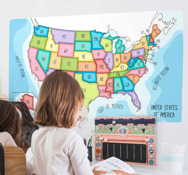 TenStickers. USA States Map Wall Sticker. Help your kids to learn their states with this amazing USA kids map wall sticker. Free worldwide delivery available now!