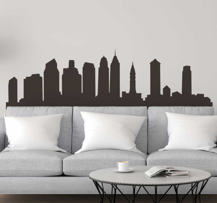 TenStickers. Philadelphia Skyline Wall Sticker. Celebrates the most beautiful and amazing City in the US with this awesome Philadelphia skyline wall sticker. Worldwide delivery available!