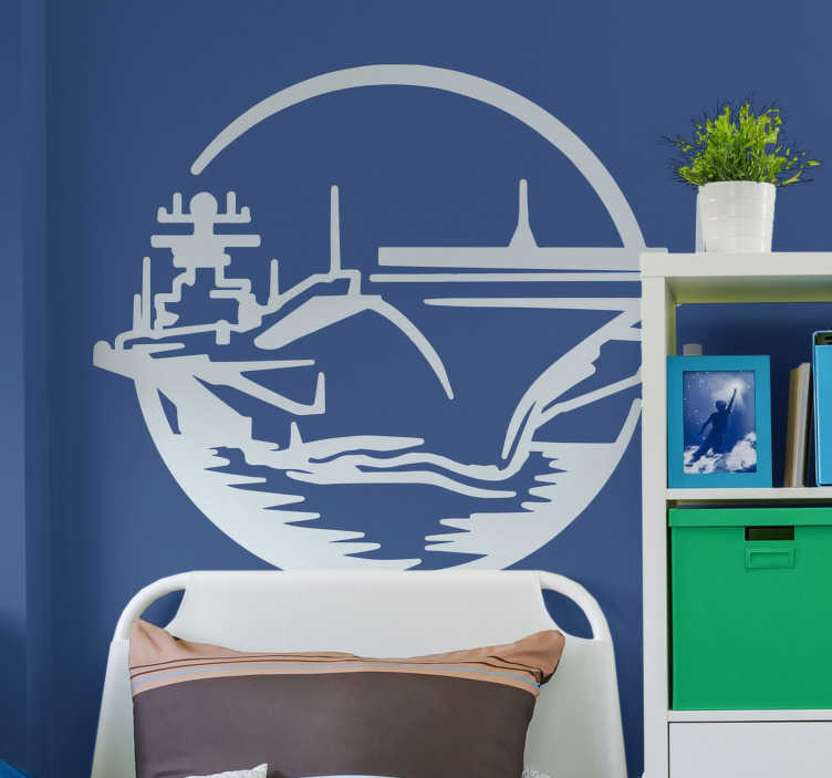 TenStickers. Aircraft Carrier Wall Sticker. Give any room in your home an awesome new feel with this fantastic navy wall sticker. Choose from a range of over 50 different colors!