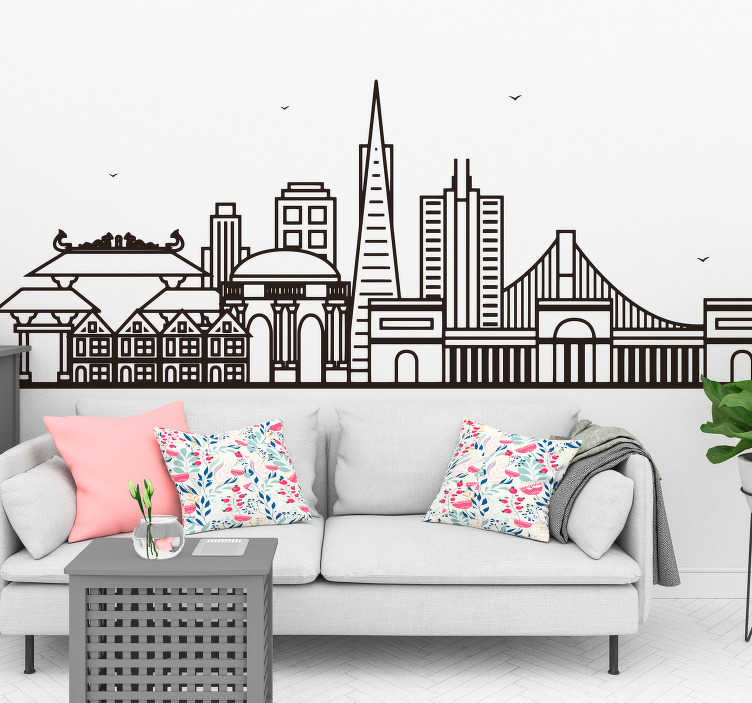TenStickers. San Francisco Skyline Wall Decal. Bring the beauty of your favourite city in the world into your home with this awesome San Francisco skyline wall sticker. Worldwide delivery!