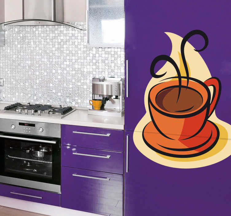 TenStickers. Cup of Hot Coffee Wall Sticker. A colourful coffee wall art decal illustrating a hot cup of coffee to give your kitchen a new look along with a fantastic appearance.