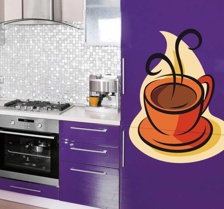 Vinilo ilustración taza de café caliente