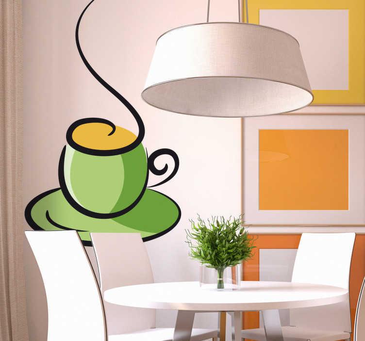 Vinilo decorativo taza verde café