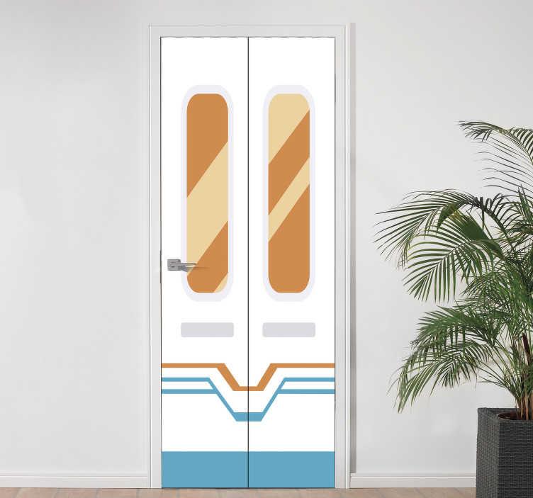 TenStickers. Muurstickers kinderkamer deur. Schaf nieuw deze geweldige deursticker aan voor uw zoon of dochter. De decoratie bestaat uit twee deuren in een sticker.
