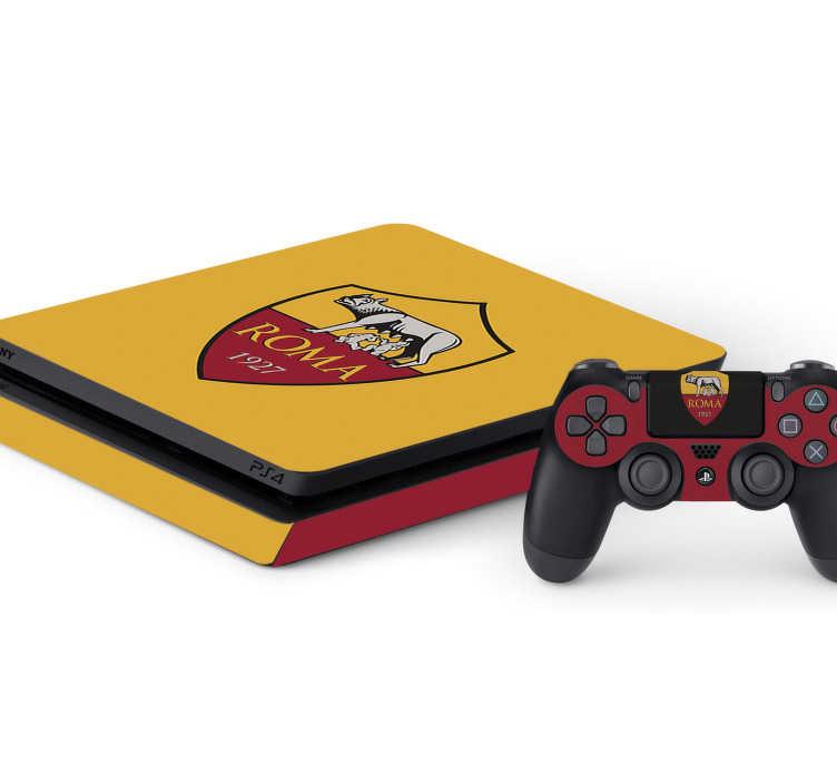 TenStickers. Skin Ps4 Roma calcio. Sei un fan dei videogiochi e della Roma? Allora racchiudi entrambi le passioni in questa skin ps4, che raffigura il logo della Roma!