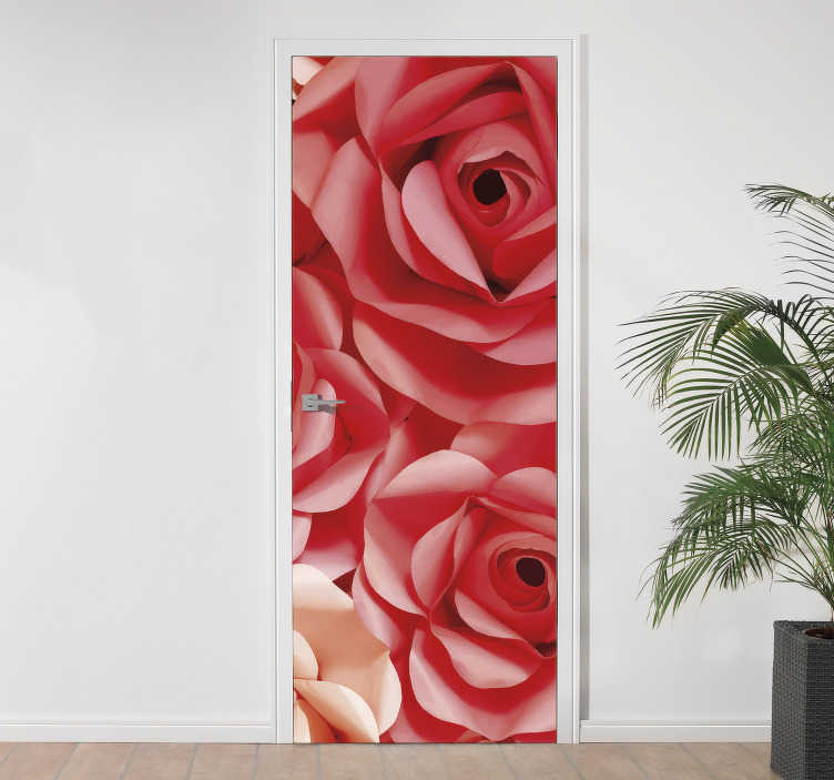 TenStickers. Rose Flowers Door Sticker. Turn your boring, uninspired and lifeless doors into a work of art with this awesome rose flower door sticker. Worldwide delivery!