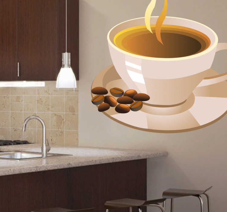 TenStickers. Milk Coffee Wall Sticker. Do you fancy a cup of coffee? With milk? If you are looking for a coffee wall art decal to decorate your kitchen then this is perfect for you!