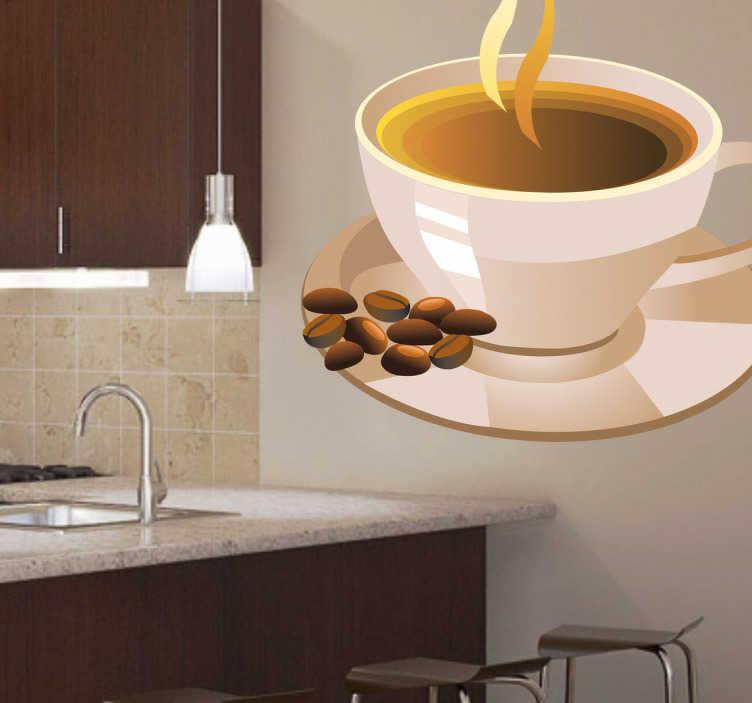 TenStickers. Naklejka filiżanka kawy. Ładna naklejka dekoracyjna z gorącą filiżanką kawy. Obrazek idealnie nada się na ozdobę ścian w kuchni, mebli oraz wyposażenia kuchennego. Dla wszystkich kawoszy.