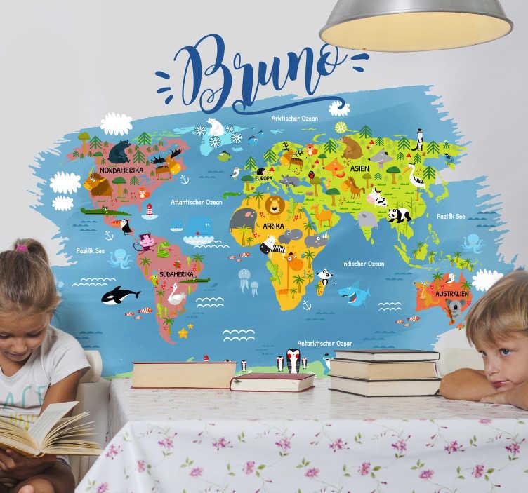 TenStickers. Weltkarte Wandtattoo Kinder personalisiert. Personalisierte Weltkarte für Kinder. Es werden zu allen Kontinenten und Meeren die passenden Tiere abgebildet. Schöne Farben für das Kinderzimmer