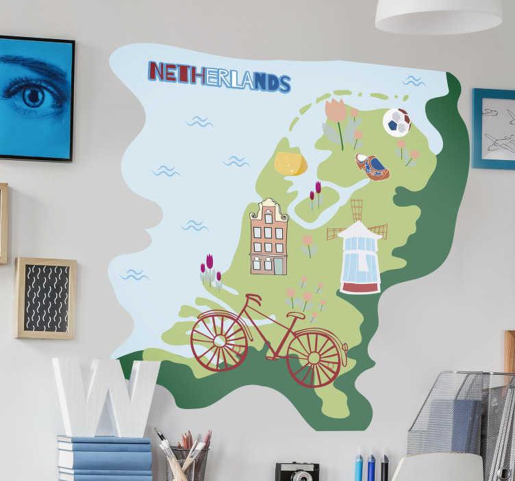 TenStickers. Muurstickers tienerkamer Kaart Nederland. Dit is een prachtige muursticker voor kinderkamer en kan gebruikt worden door verschillende mensen in het huis, speciaal voor kinderen geschikt.