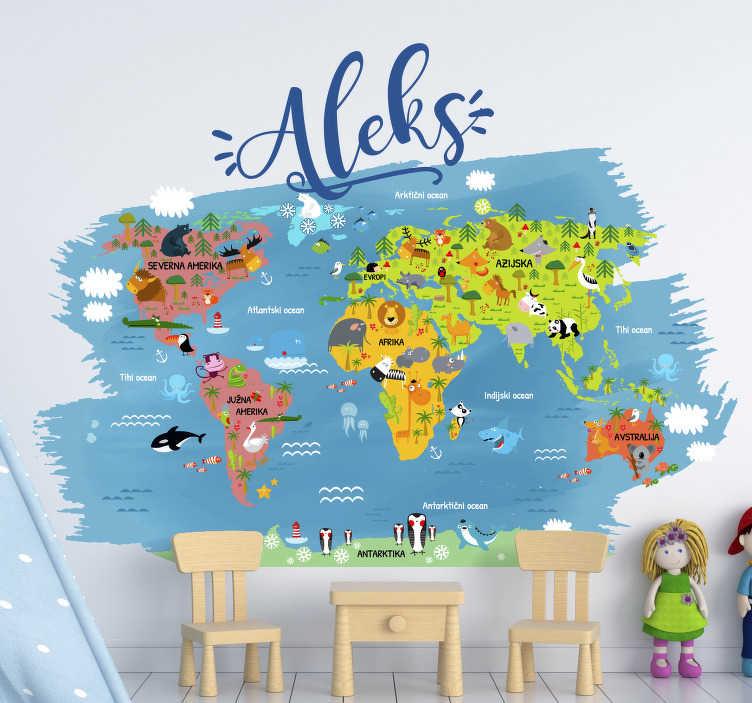 TenStickers. Zemljevid živalskega sveta z imenom v slovaškem stenskem dekorju. Otroška stenska nalepka na spalnem zemljevidu sveta z imenom glavnih živali vsake celine in oceana v slovaškem jeziku s prilagojenim imenom.