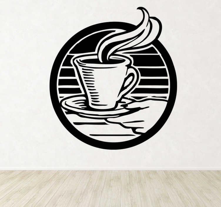 TenStickers. Kopje koffie sticker. Eerst ff een bakkie doen? Al helemaal met deze muurstickers met een lekekr warm kopje koffie! Leuke manier om je huis of je restaurant te decoreren!